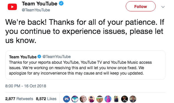 YouTube DOWN YouTube s latest tweet 1558004 Bharat Headlines